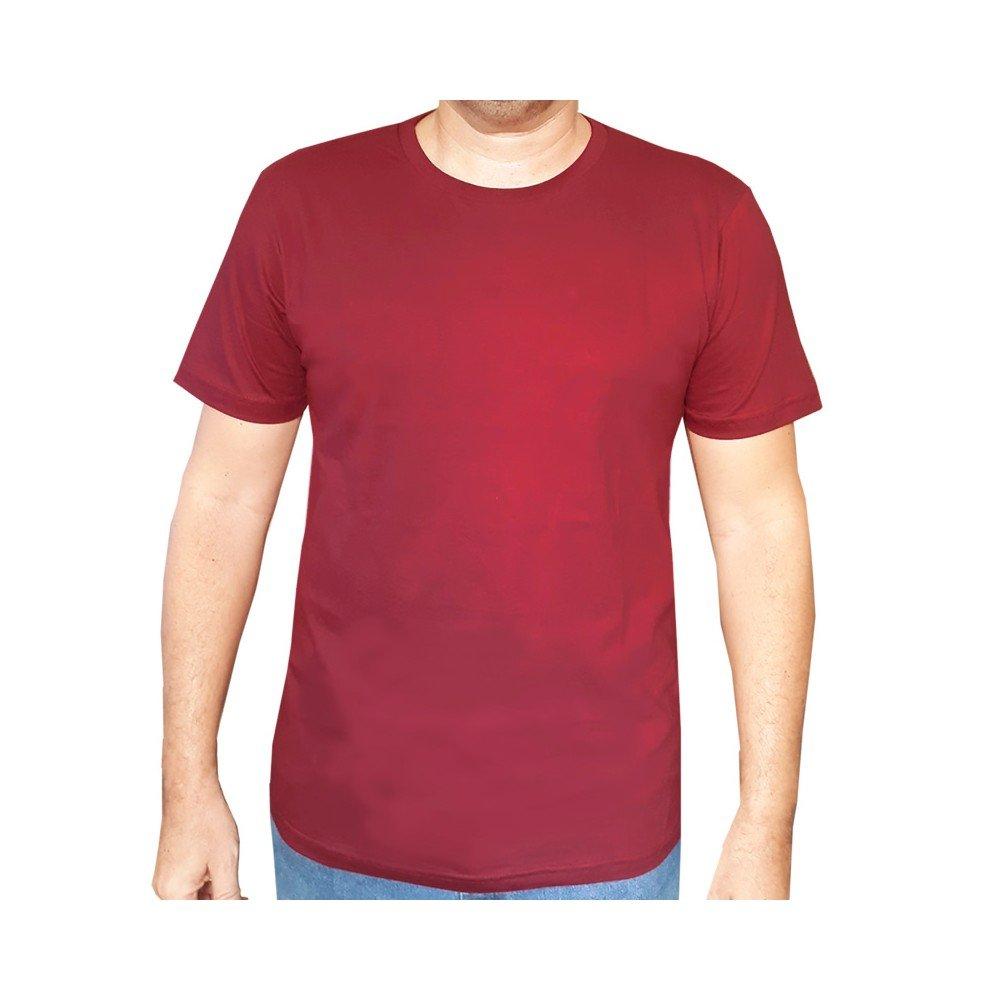 Camiseta lisa algodão masculina - Vinho