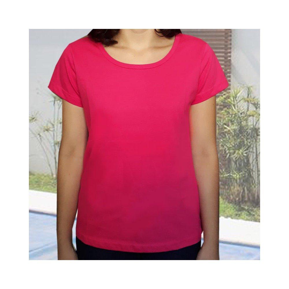 Camiseta com reforço ombro a ombro - algodão azul